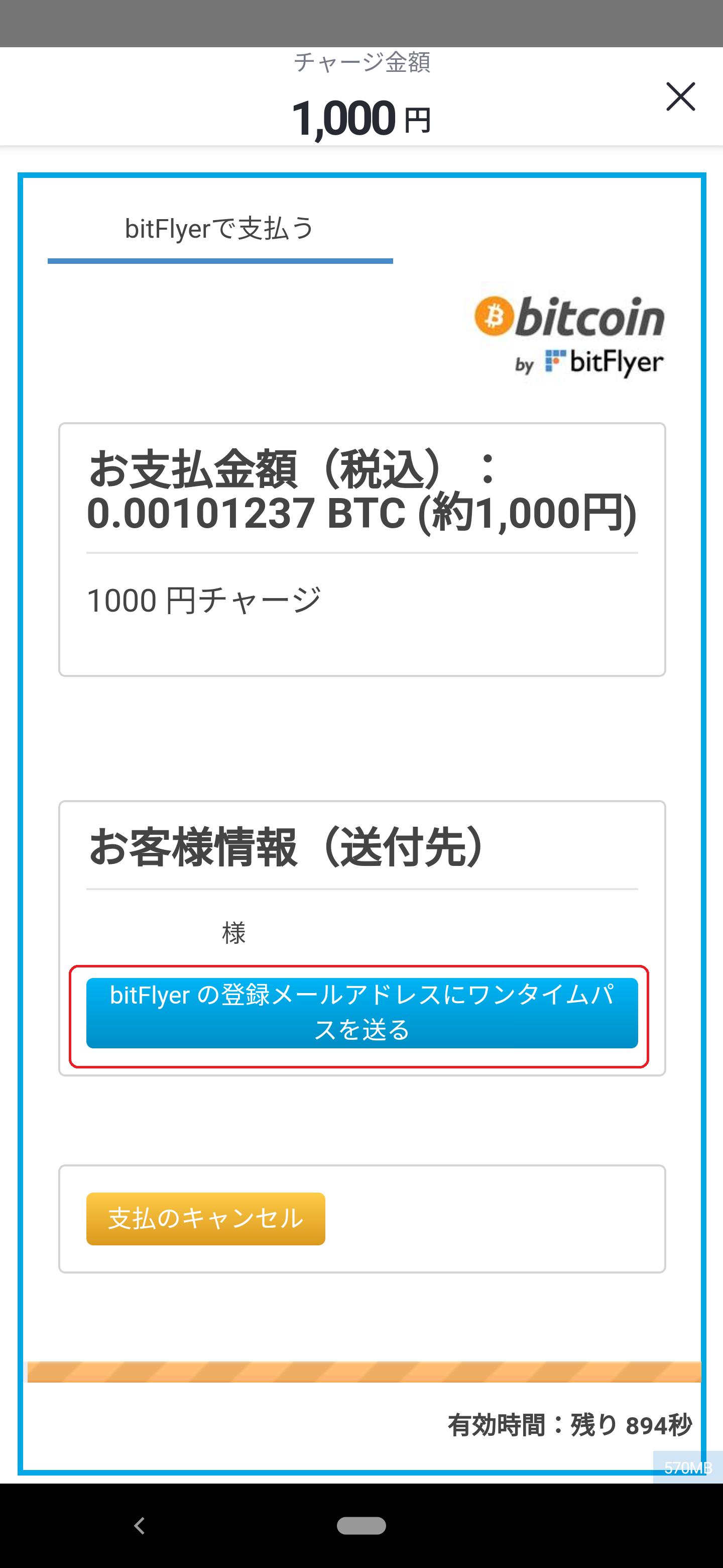 ビットフライヤー ビットコイン金額